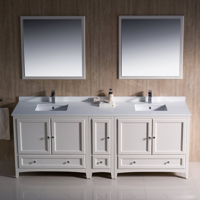 Oxford Traditional 84 Double Bathroom Vanity Set With Mirror
