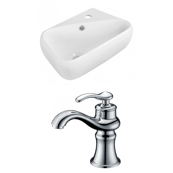 Ceramic 17.75 Bathroom Sink with Faucet and Overflow
