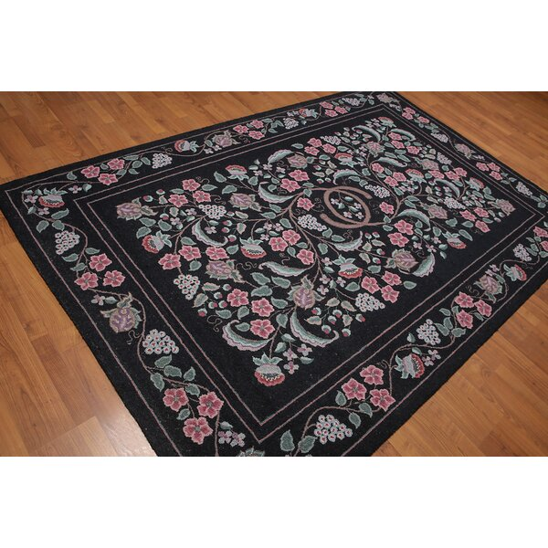 One-of-a-Kind Honore Hand-Knotted Wool Black Area Rug by Astoria Grand