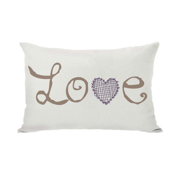 Love Crosshatch Heart Lumbar Pillow by One Bella Casa
