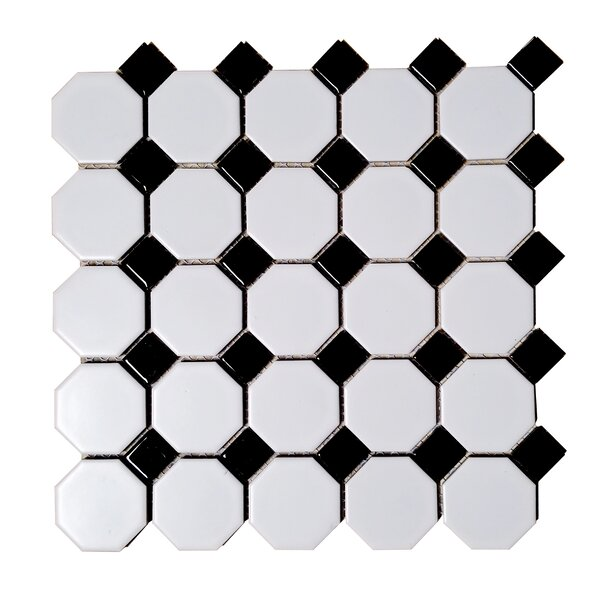 Monet Dot Hexagon Random Sized Porcelain Mosaic Tile in Black/White by Abolos