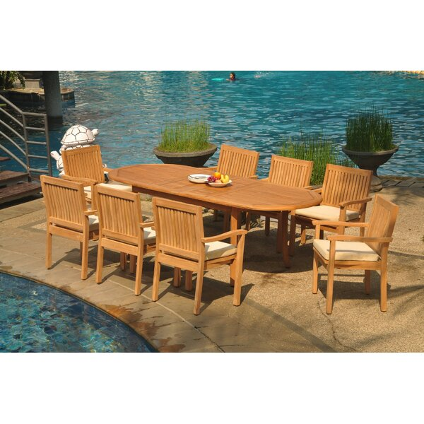 Monica 9 Piece Teak Dining Set by Rosecliff Heights