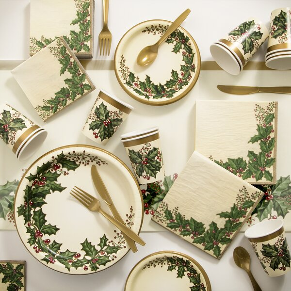 Winter Holly Paper and Plastic Tableware Kit by Creative Converting