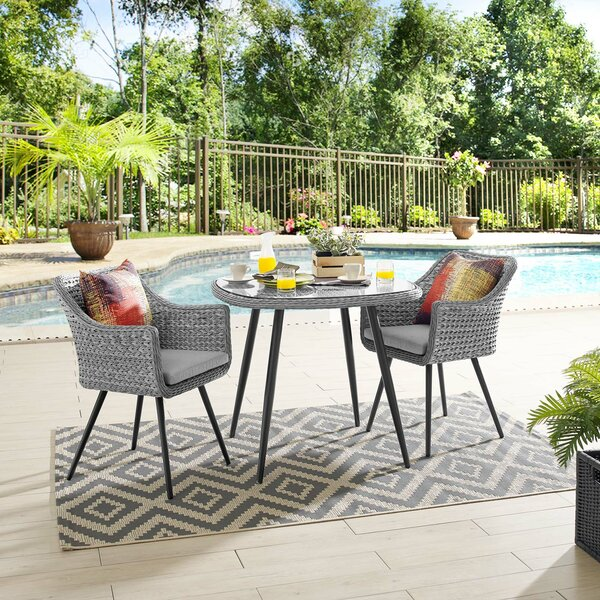 Thayne 3 Piece Bistro Set with Cushions by Ivy Bronx