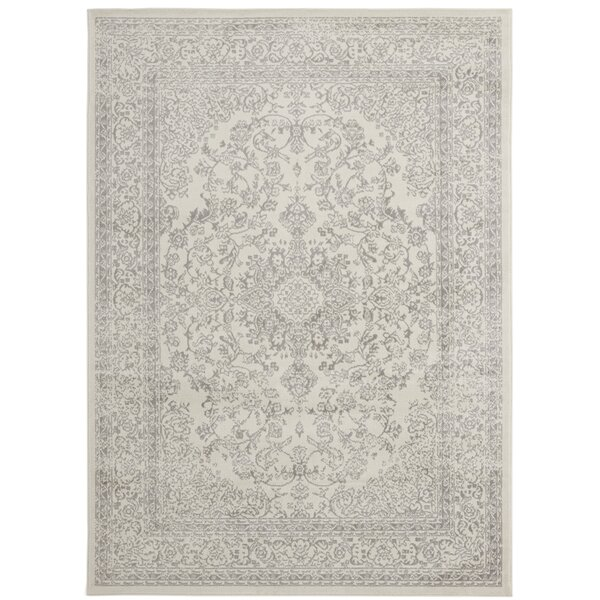Zander Oriental Medallion Design Ivory/Gray Area Rug by Ophelia & Co.