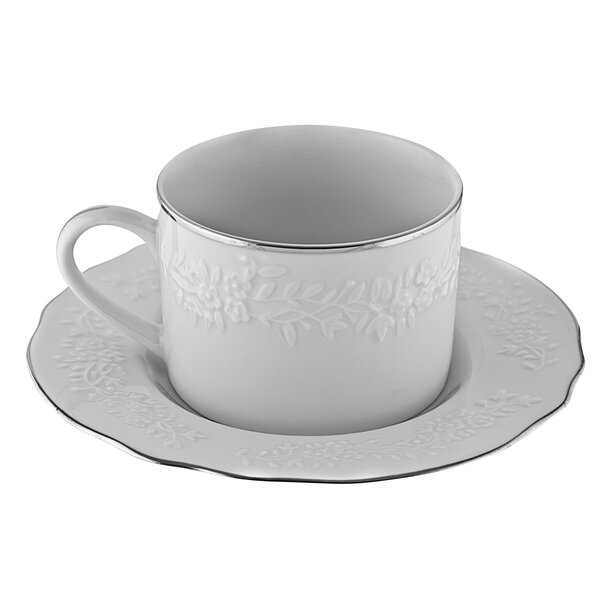 Jered 7 oz. Cup and Saucer (Set of 6) by Ophelia & Co.