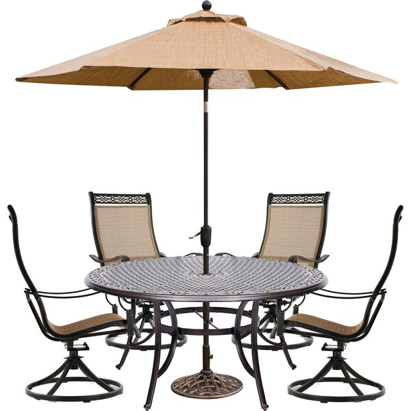 Buariki 5 Piece Dining Set with Umbrella by Fleur De Lis Living