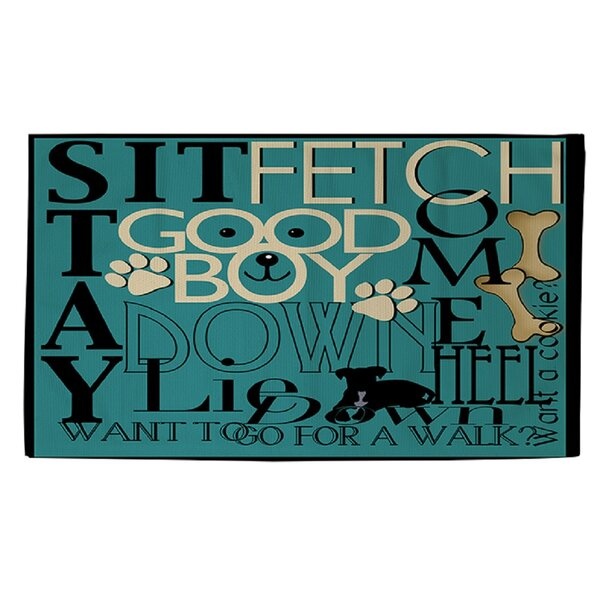 Dog Commands Teal Area Rug by Manual Woodworkers & Weavers