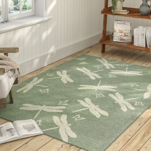 Castellane Dragonfly Field Hand Hooked Sage Green Indoor/Outdoor Area Rug by August Grove