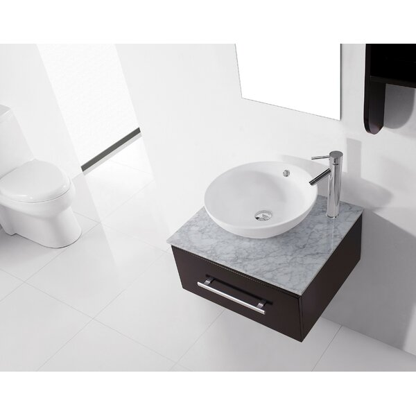 Canadice 24 Single Bathroom Vanity Set with White Marble Top and Mirror by Zipcode Design