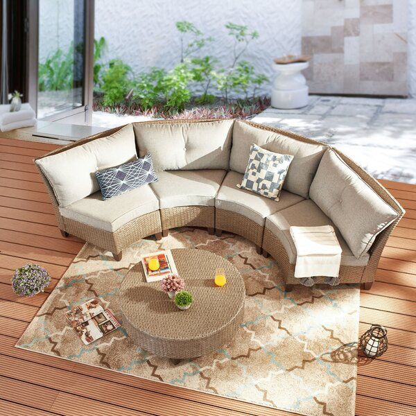 Rochele 5 Piece Rattan Sofa Seating Group with Cushions by Highland Dunes
