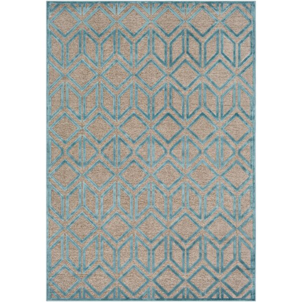 Pospisil Modern Geometric Taupe/Teal Area Rug by Wrought Studio