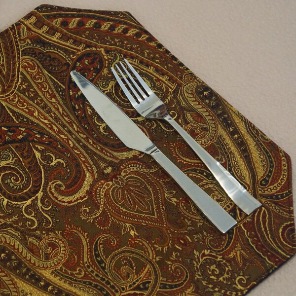 Prema Silk Paisley Reversible Rectangle Placemat (Set of 2) by Pacific Table Linens