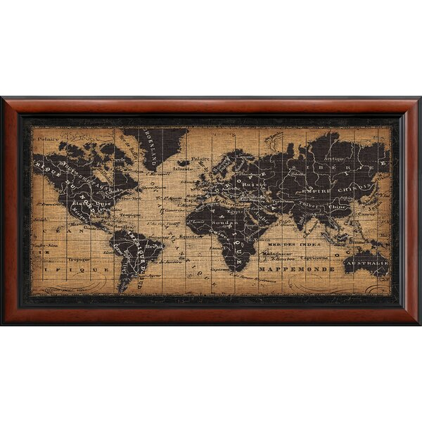 darby home co old world map framed graphic art reviews wayfair - World Map Framed