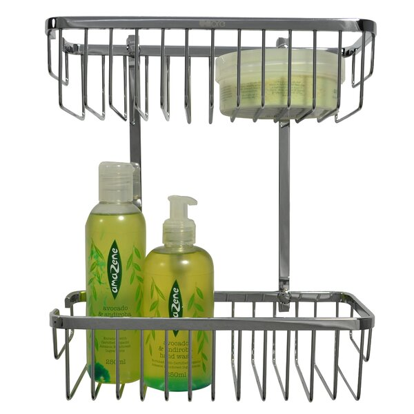 Double Rectangular Brass Wall Mounted Shower Caddy by UCore