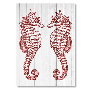 'Double Seahorse Wood Crimson' Graphic Art by Beachcrest Home
