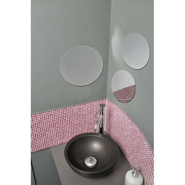 3 Piece Decorative Adhesive Round Bath Wall Mirror Set by Evideco