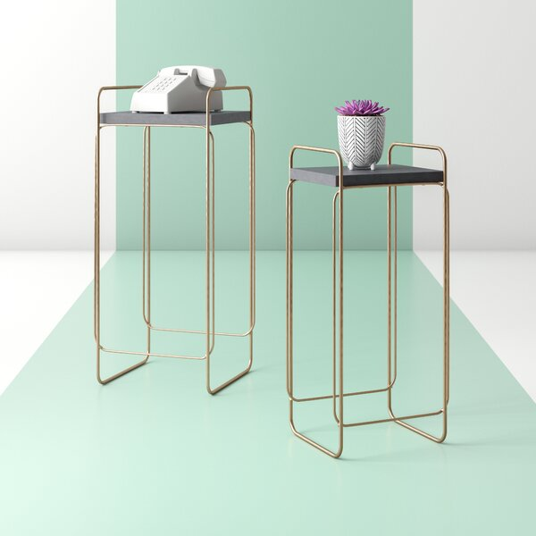 Diego Metal And Wood 2 Piece Nesting Tables By Hashtag Home