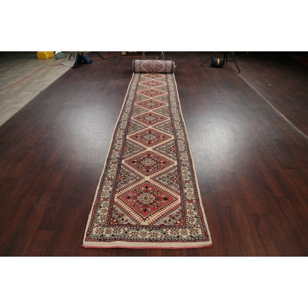 One-of-a-Kind Conley Hand-Knotted 1970s Pink/Brown 2'8 x 32'8 Runner Wool Area Rug