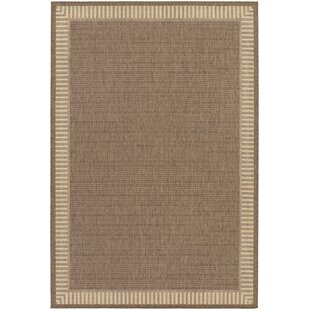 Low priced Westlund Wicker Stitch Cocoa/Natural Indoor/Outdoor Area Rug By Charlton Home