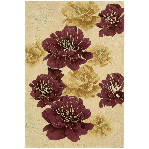 Palisades Joshua Blossom Hand-Tufted Beige/Red Area Rug by Kathy Ireland Home