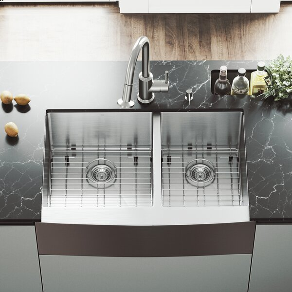 33 L x 22 W Double Basin Farmhouse/Apron Kitchen Sink with Astor Faucet, Two Grids, Two Strainers and Soap Dispenser by VIGO