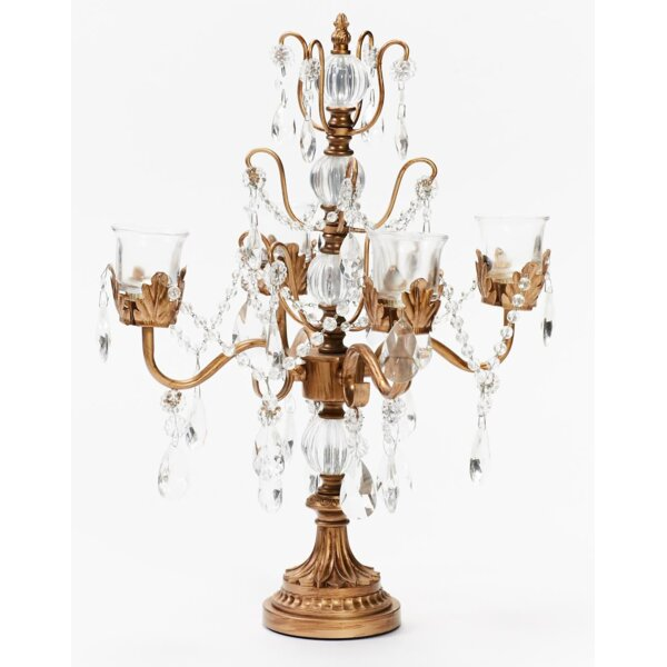 Iris Four Taper Metal Candelabra by Opulent Treasures