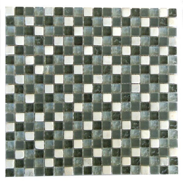 Quartz 0.63 x 0.63 Glass and Stone Mosaic Tile in Green and White by Abolos