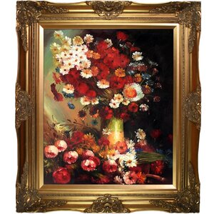 Vase with Poppies Cornflowers Peonies and Chrysanthemums by Vincent Van Gogh Framed Painting Print by Tori Home