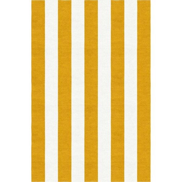 Watlington Stripe Hand-Woven Wool Dark Gold/White Area Rug by Breakwater Bay