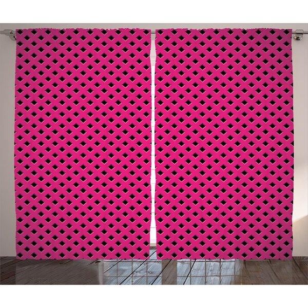 Criddle Magenta Diamond Line Grill Cross Wire Design Logo Digital New Fashion Motif Image Graphic Print & Text Semi-Sheer Rod Pocket Curtain Panels (Set of 2) by Latitude Run