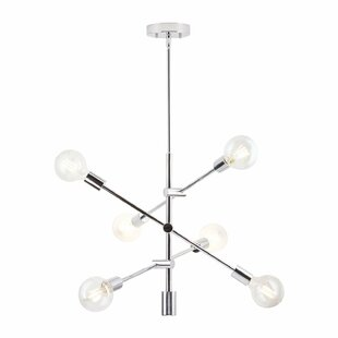 Modern contemporary chrome chandelier lighting allmodern gini 6 light sputnik chandelier aloadofball Image collections