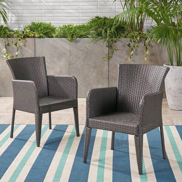 Eliason Outdoor Wicker Patio Dining Chair (Set of 2) by Latitude Run Latitude Run