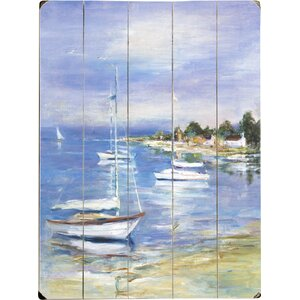 Boats at the Beach Graphic Art by Beachcrest Home