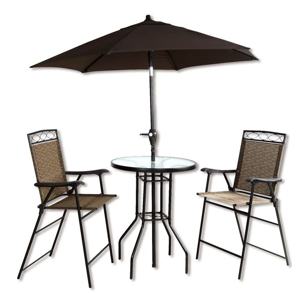 Stjean 4 Piece Bar Height Dinning Set With Umbrella by Ebern Designs