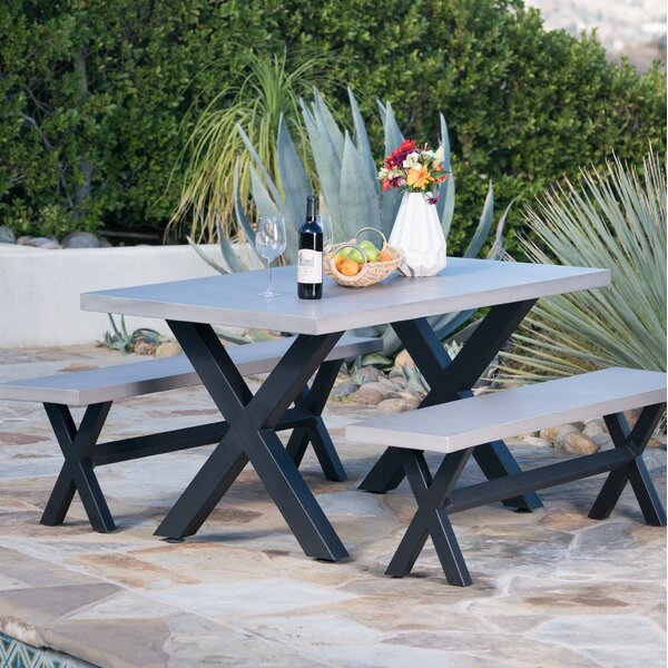 Warlick Outdoor Light Weight Concrete Picnic 3 Piece Dining Set by Gracie Oaks