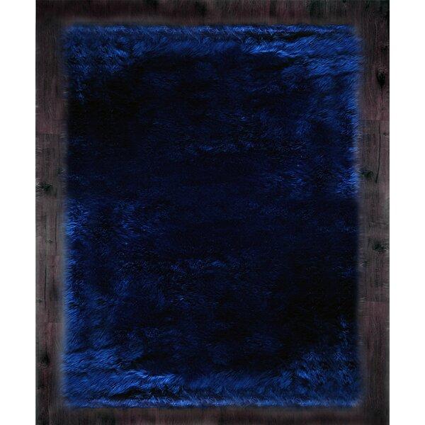 Faux Fur Blue Area Rug by Kroma Carpets