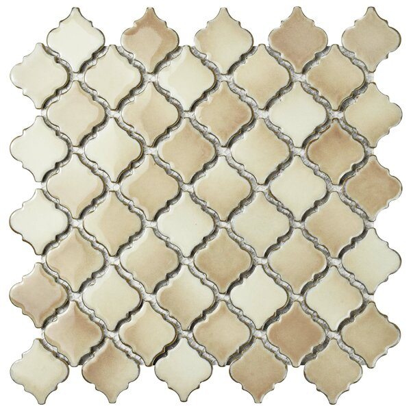 Pharsalia 12.38 x 12.5 Porcelain Mosaic Floor and Wall Tile in Truffle by EliteTile