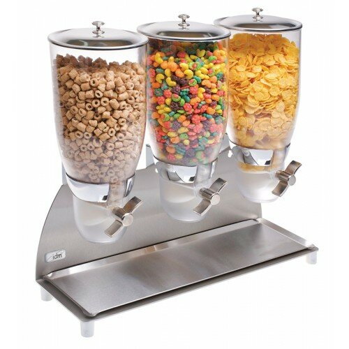 355 Oz. Triple Canister Cylinder Cereal Dispenser by Cal-Mil