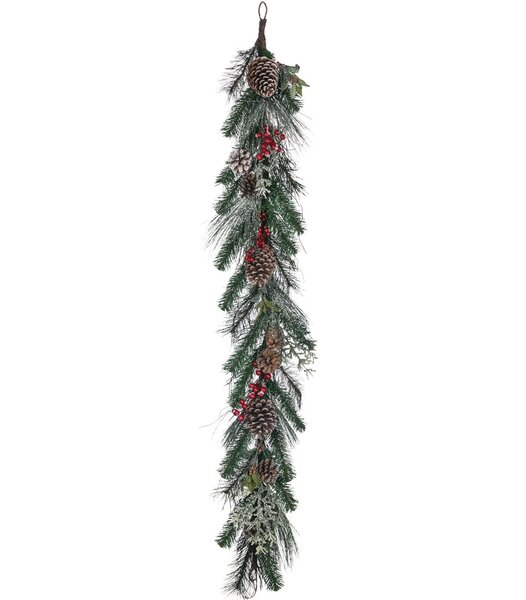 Flocked Pine with Cones and Berry Garland by The Holiday Aisle