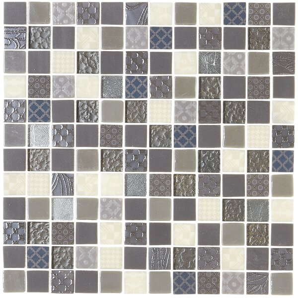 Lexington 12 x 12 Glass Mosaic Tile in Metro Gray by Itona Tile