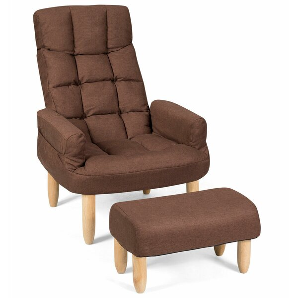 Irmtrud Lazy Adjustable Backrest and Headrest Living Room Armchair and Ottoman by Latitude Run