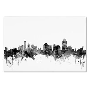 'Cincinnati Ohio Skyline' Graphic Art on Wrapped Canvas by Ivy Bronx