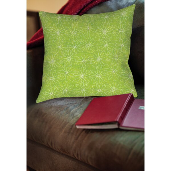 Funky Florals Daisy Sketch Printed Throw Pillow by Manual Woodworkers & Weavers