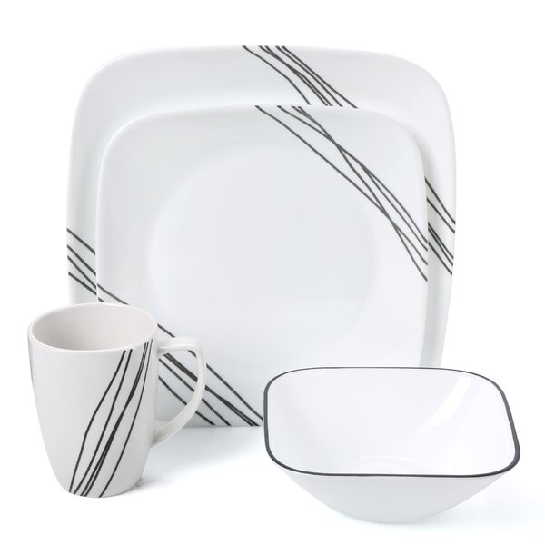 Simple Sketch 16 Piece Dinnerware Set, Service for 4 by Corelle