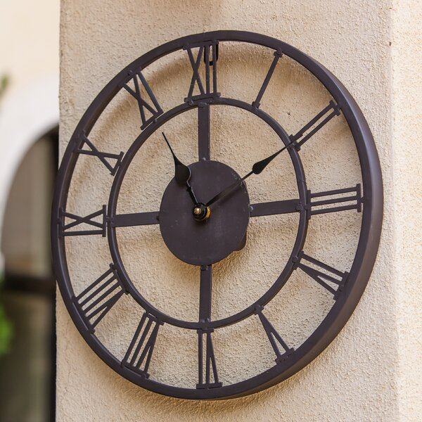 Antuan Roman Numeral Outdoor 13.25 Wall Clock by Gracie Oaks