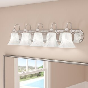 Reviews Tiverton Strip 5-Light Vanity Light By Three Posts