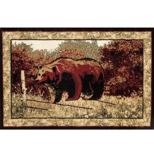 Vasques Majestic Bear Red/Beige Indoor/Outdoor Area Rug by Millwood Pines