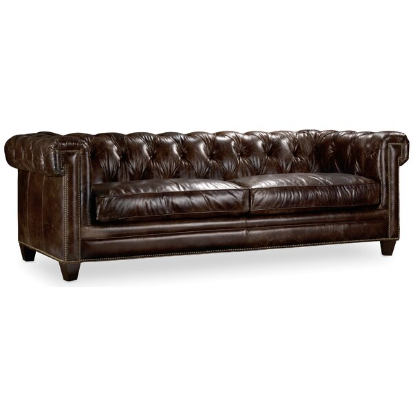 Imperial Regal Stationary Leather Chesterfield Sofa by Hooker Furniture