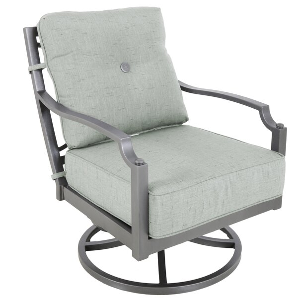 Konevsky Swivel Patio Chair with Cushions (Set of 2) by Red Barrel Studio